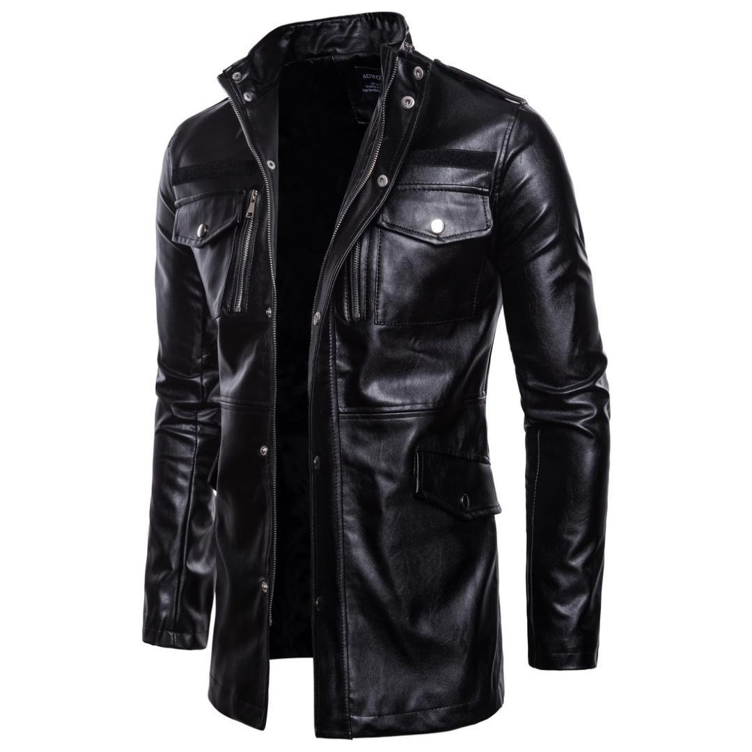 Men S Leather Jackets Stand Collar Pu Coat Male Motorcycle Leather