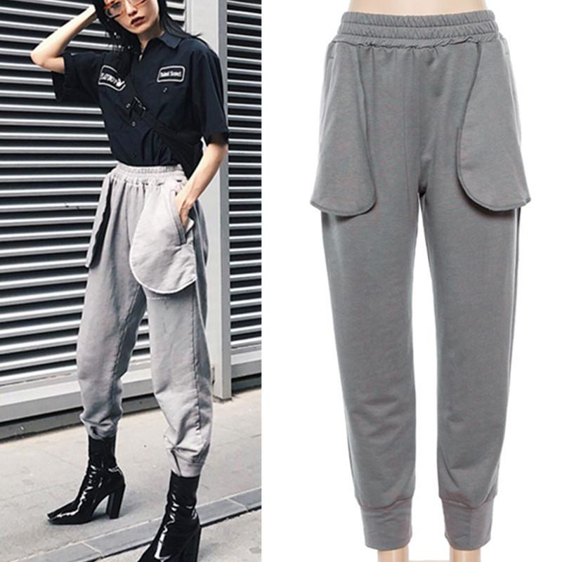 Womens Fashion Streetwear Athleisure Fitness Pants For Female Autumn Winter  Grey Large Pockets Long Trousers Sweatpants UK 2019 From Wodedipan1977 a8997bd013