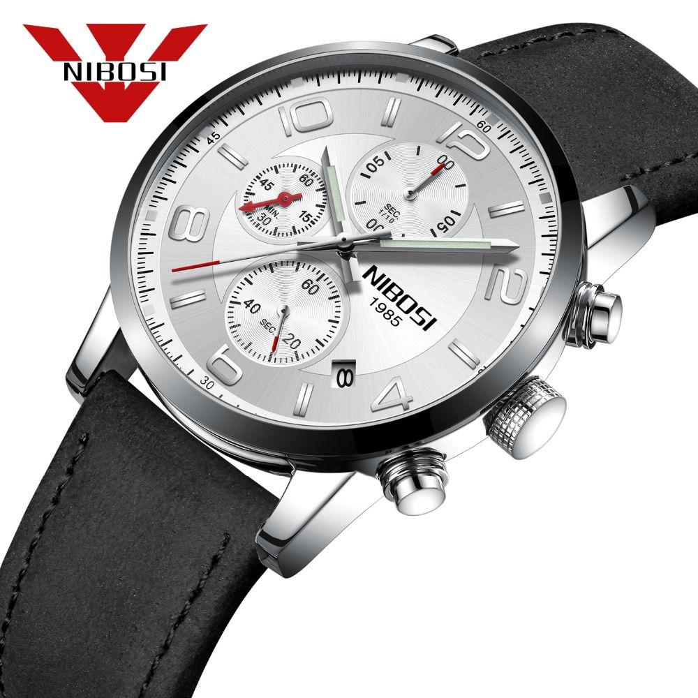 620dc7c1daa Compre Nibosi 2018 Novo Tipo De Esporte Relógio De Pulso De Quartzo Moda  Para Homem Relogio Masculino Clássico Relógios De Couro Preto De  Shuidianba