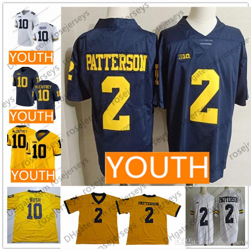 best sneakers b1845 29a73 Youth Michigan Wolverines #10 Brady Devin Bush McCaffrey 2 Patterson  Woodson White Navy Blue Yellow Stitched NCAA Kids Boy Jerseys
