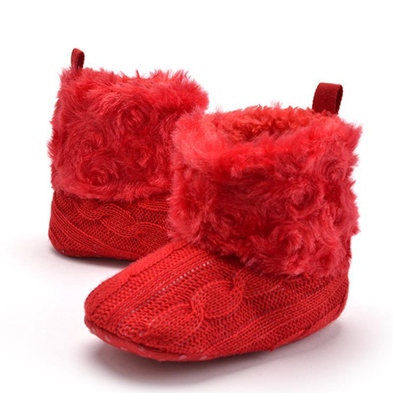 UK Newborn Baby Girl Boy Toddler Boy Girl Snow Boots Winter Warm Fur Crib Shoes
