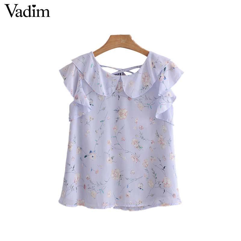 9e216c669b63 2019 Vadim Women Sweet Ruffles Floral Chiffon Blouse Back Bow Tie  Sleeveless Shirts Ladies Summer Fashion Chic Tops Blusas WA113 From Hiem