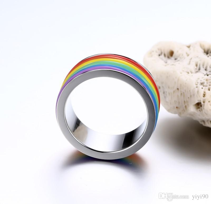 Fashion 8mm Width Band Rainbow Silicone Stainless Steel Ring Size 6-10 Titanium Steel For Women's Engagement Jewelry Gift