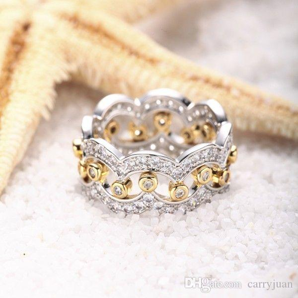 2018 New Arrival Stunning Luxury Jewelry 925 Sterling Silver Gold 5A Cubic Zirconia Diamond Women Wedding Band Bridal Ring Set Gift