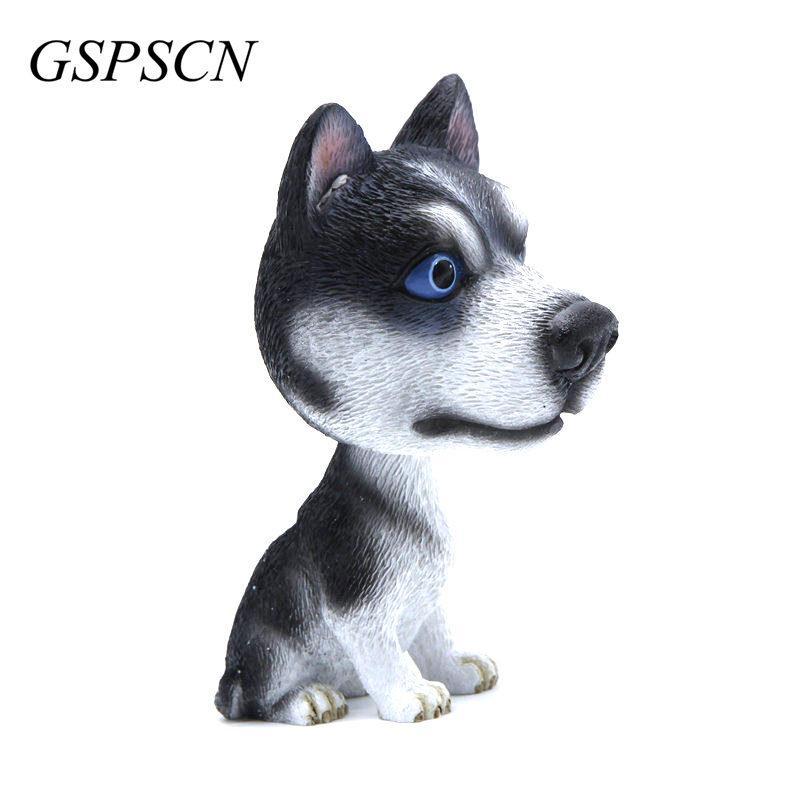 new car styling resin cute dog doll husky doll car nodding dog shake