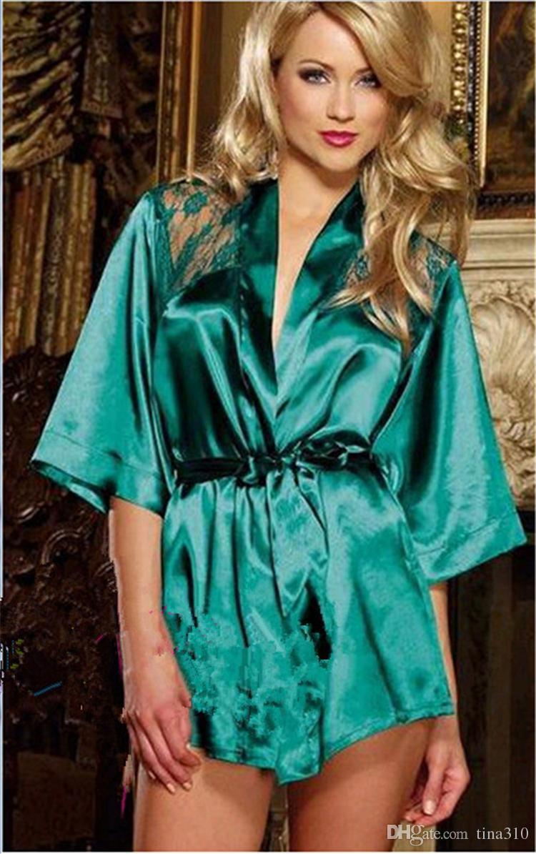 Women Lace Bathrobe Kimono with G-string Waist Belt Sexy Lingerie Night Robe Pajamas Dressing Gown T2I241