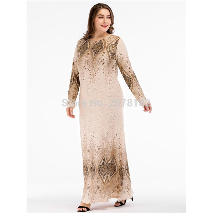 04bc937d887 2019 Beige Sequined Islamic Clothing Pakistani Sharara Dress In Big Size  4XL