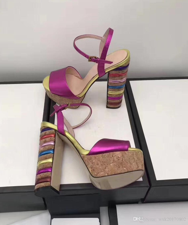 2018Nouvelles chaussures européennes de style luxe pour femmes, sandales, sandales, imperméabilisation du cuir et plus de choix de couleurs pour talons rugueux