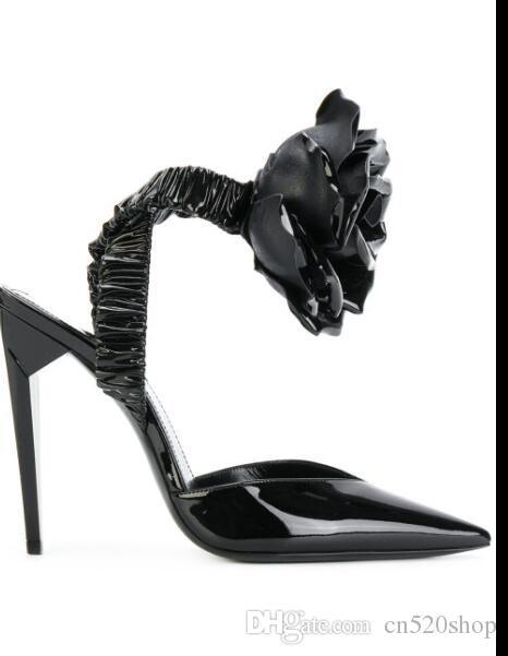 51a11d45713ccd Großhandel Sexy High Heels Sandaletten Riemchen Schwarze Blumen Frauen  Pumps Abend Party Kleid Schuhe 2018 Stilvolle Stiletto Heels Nacht Clubwear  Sandalen ...