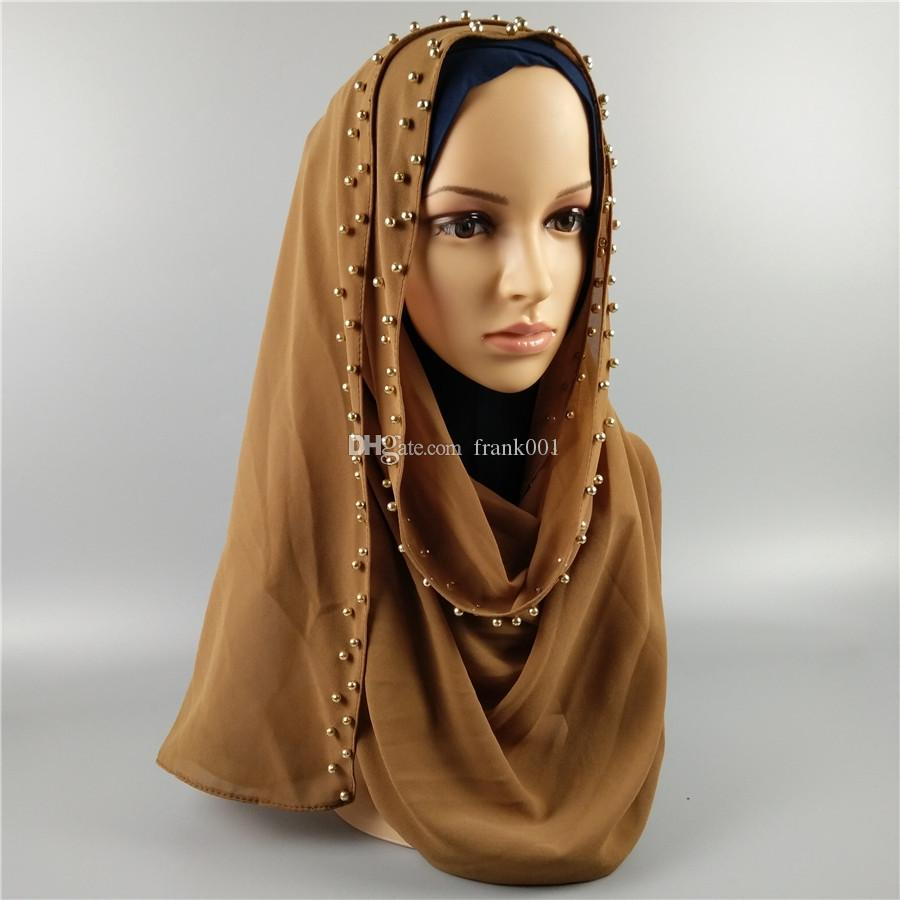 Pearl Bubble Chiffon Women's Hijab Scarf Shawl Head Wrap Muslim Accessories Plain Solid Color with Gold Pearls