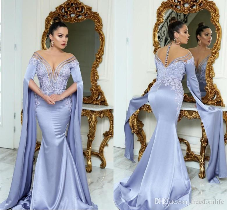 0f53e14550d1d Dubai Caftan Mermaid Evening Dresses Sheer Neck Arabic Style Applique  Elegant Abendkleider Prom Gowns Vestido Longo Party Dress
