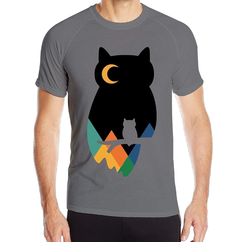 f781a611 Funny Men's Owl Art Outdoor Running Performance Short Sleeves Tee Cool  Running Top T-shirt Men 2018 New Fashion