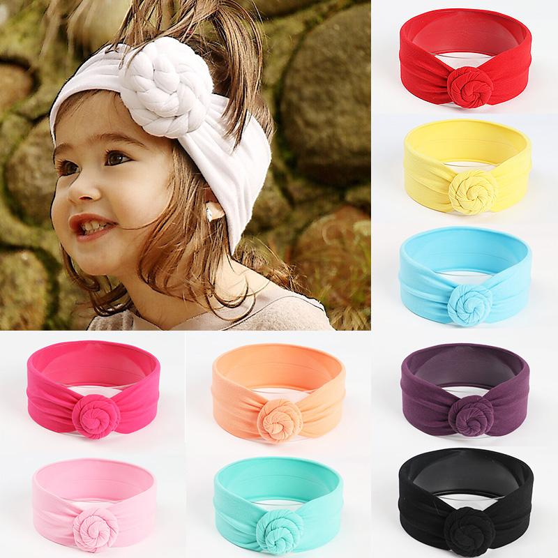 75b0b597a Sale 2018 New children's Headband For Baby hair rope Solid color knotted  hair band cute Girls Boys cotton accessories
