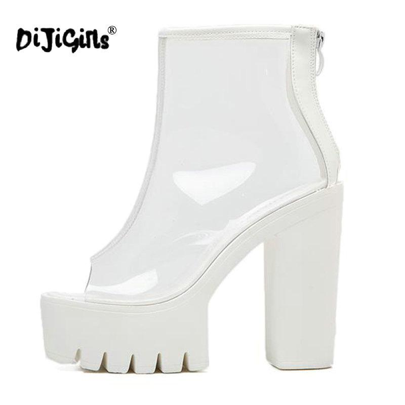 d85ed8c2259 DIJIGIRLS Super High Heels Thick Soles Bottom Perspex Clear Transparent  Ankle Boots Female Platform Anti Slip Boots Casual Shoes