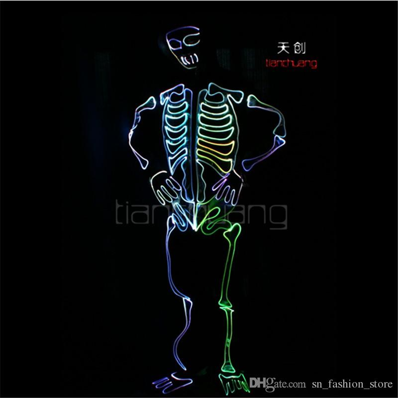 TC-146 LED colorful light robot costumes Full color party disco wears ballroom dance ghost programming Halloween clothes led men performance
