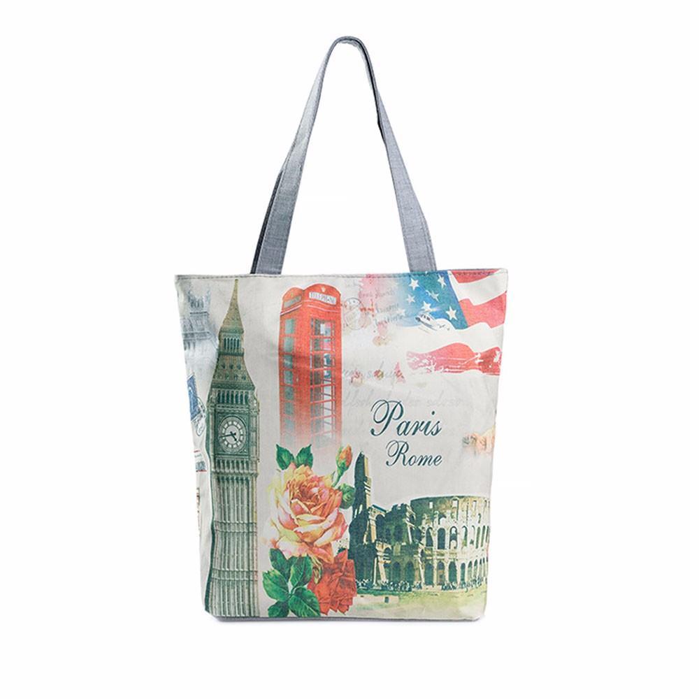 Женские сумки для покупок Простая большая емкость Холст Повседневная сумка Просторная мода London Big Ben Типографский дизайн bolsa feminina