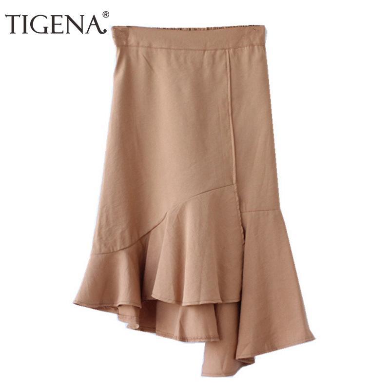 0a301939a0 Compre TIGENA Nuevo 2018 Otoño Asimétrico Volantes Faldas Midi Mujeres  Hasta La Rodilla Falda De Cintura Alta Falda Mujer Caqui Caqui Azul A   23.16 Del ...