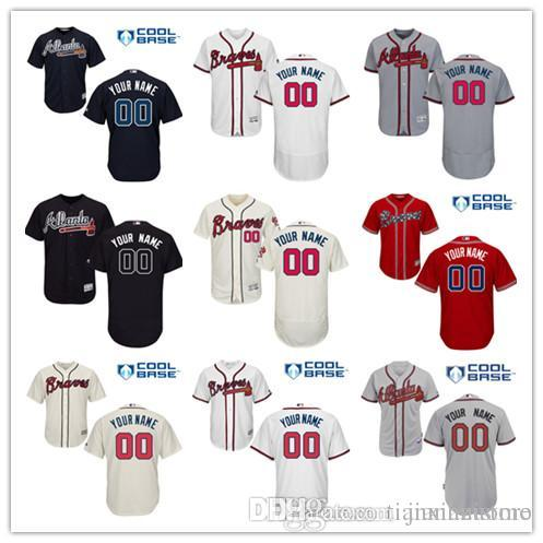 finest selection f8213 1ced1 2016 Flexbase Custom Braves men s shirts Authentic Personalized Double cool  base Stitched Onfield Baseball Jersey SIZE S-3XL