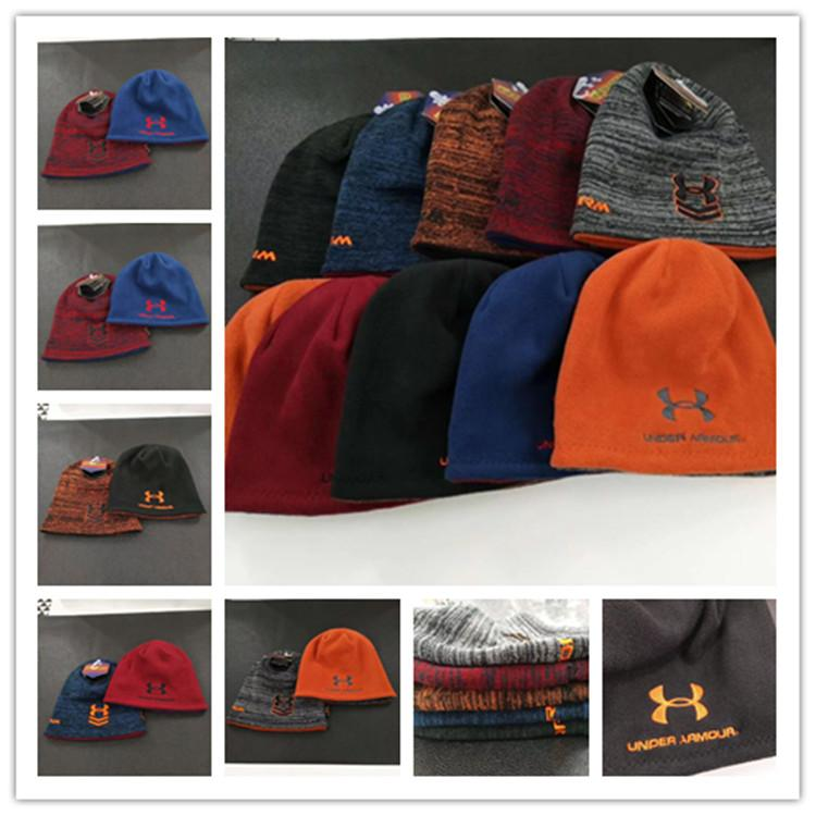 ae7caefd98f Brand UA Winter Skiing Cap Under Reversible Beanie Hats Armor Fleece ...