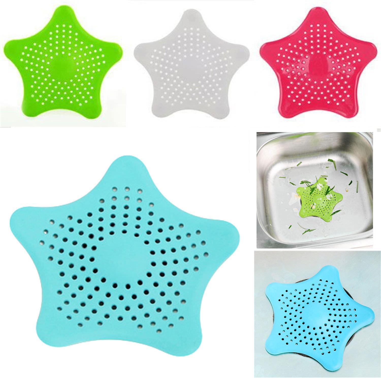 Star Silicone Bath Kitchen Drainage Waste Sink Strainer Hair Filter ...
