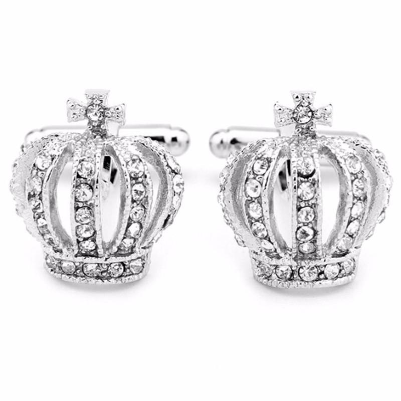 Erkek Kol Düğmeleri Babalar Günü Hediyeleri Tam Rhinestones Taç Gömlek Kral Kraliçe Düğün Damat Smokin Takı Moda Klasik Fransız Kristal