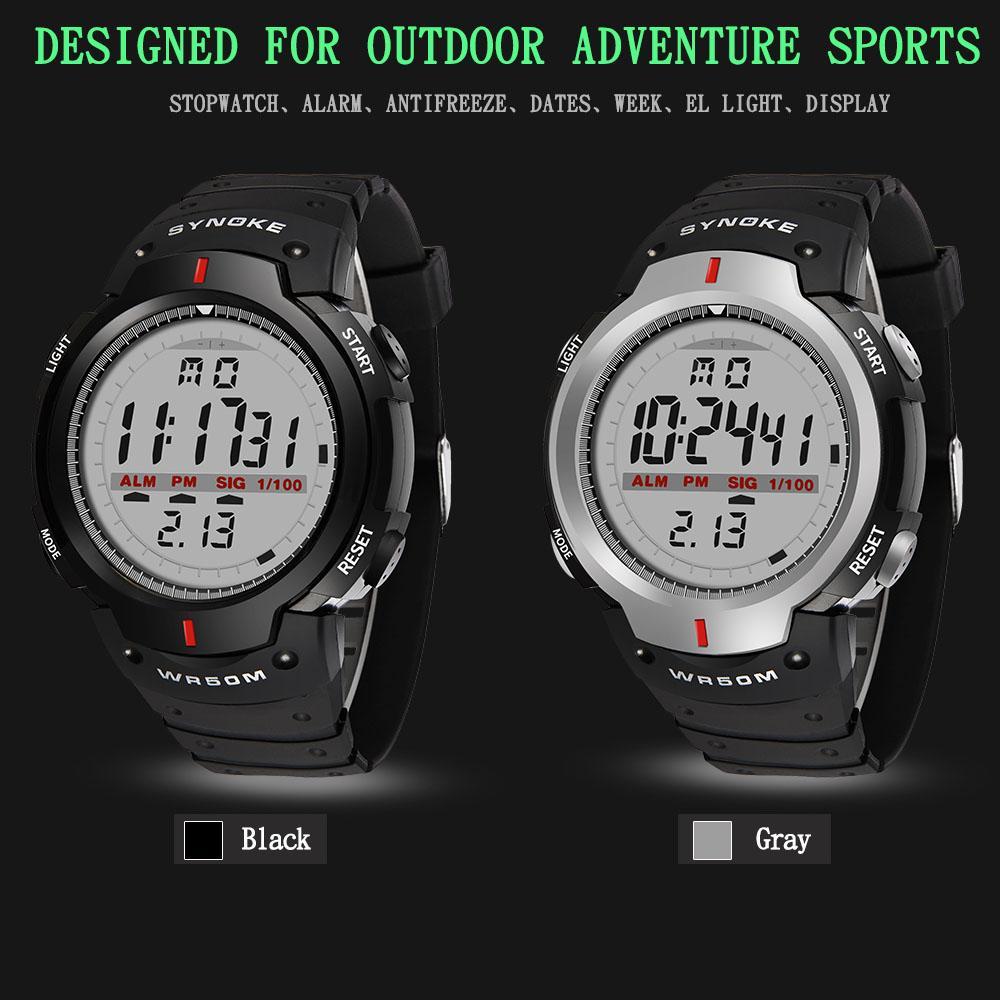 272ba089920 Compre SYNOKE Relógios Homens 30 M À Prova D  Água Eletrônico Digital LED  Relógio Dos Homens Ao Ar Livre Dos Homens Esportes Relógios De Pulso  Cronômetro ...