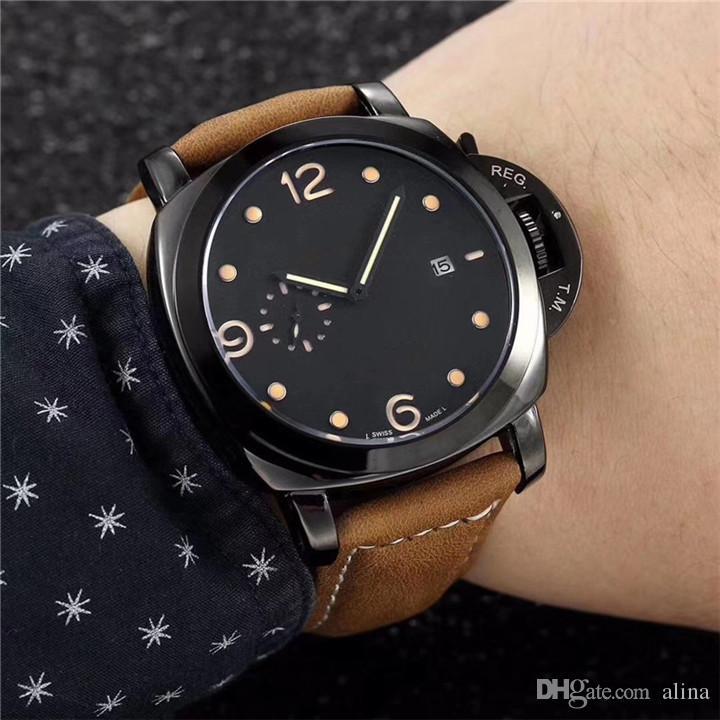 a5e1a85ab082b Compre Moda Homem Relógio De Couro Pam Luxo Masculino Relógio De Pulso Com  Diamantes De Alta Qualidade De Aço Preto Marrom Homem De Couro Relógios  Frete ...