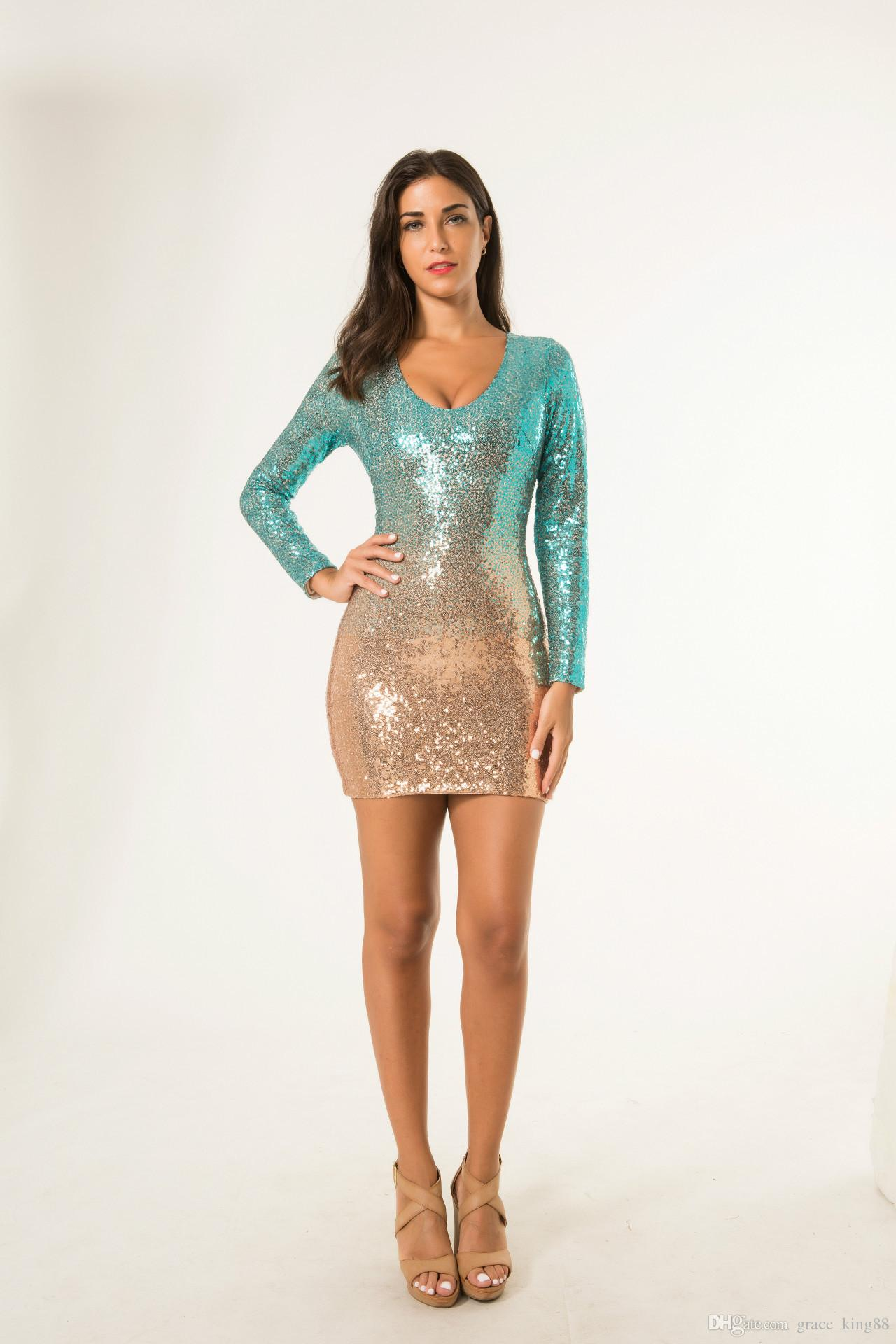 2019 Autumn New Elegant Women'S Sexy Sequin Dress Fashion Party Dresses  Backless Bodycon Sequin Christmas Dress New Year Dress S M L XL From  Grace_king88, ...
