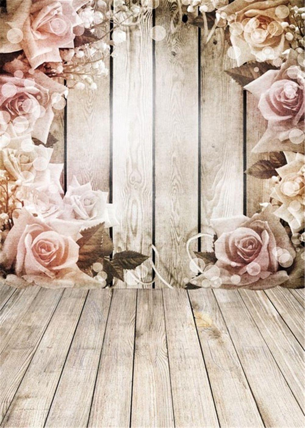 2019 Wooden Wall Floor Pink Roses Vintage Vinyl Backgrounds For