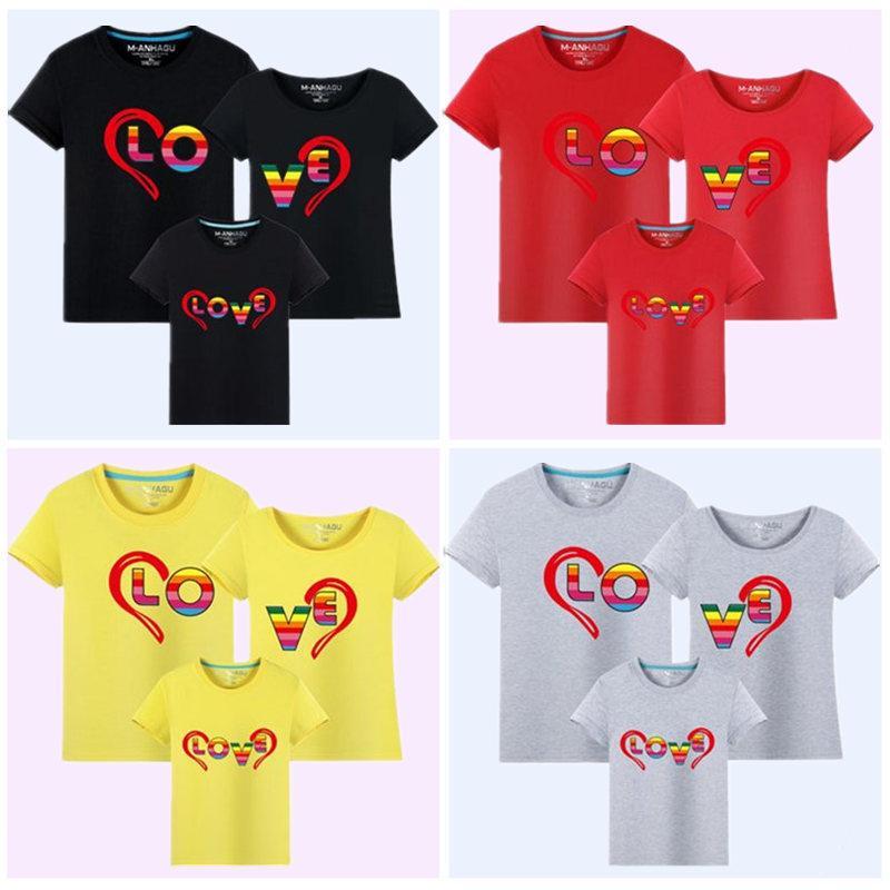 1 parça 2017 Yaz Moda Aile Bak Kısa Kollu T Gömlek Çocuk giyim Trendi Rahat Üst Tees Aile Eşleştirme Kıyafetler