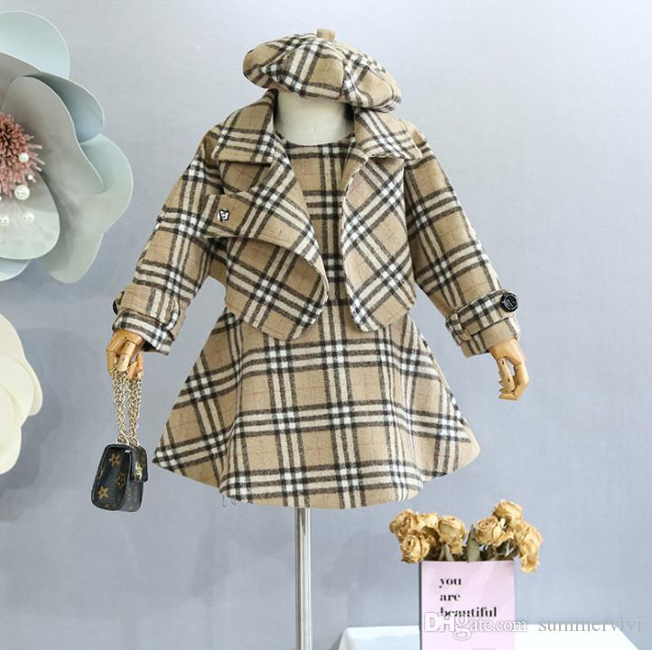 e260adcc7 Lady Style Child Woolen Outfits Girls Lapel Long Sleeve Plaid ...