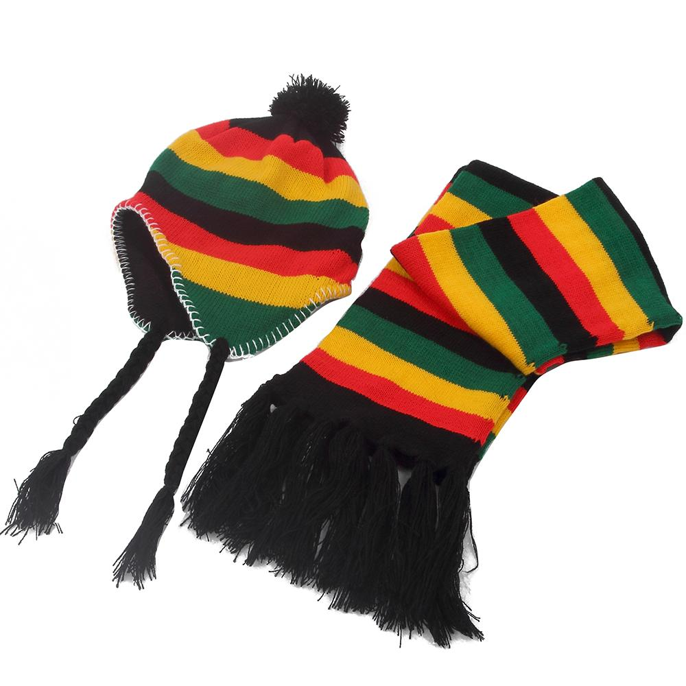 040f21a5c4d62 2019 2018 New Winter Jamaica Rasta Reggae Multicolor Rainbow Stripe Beanie  Hats And Scarf Sets For Womens Mens From Milknew