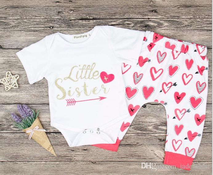 44d5273b6 Baby Girls Heart Pants Set with Rompers Summer Baby Boutique ...