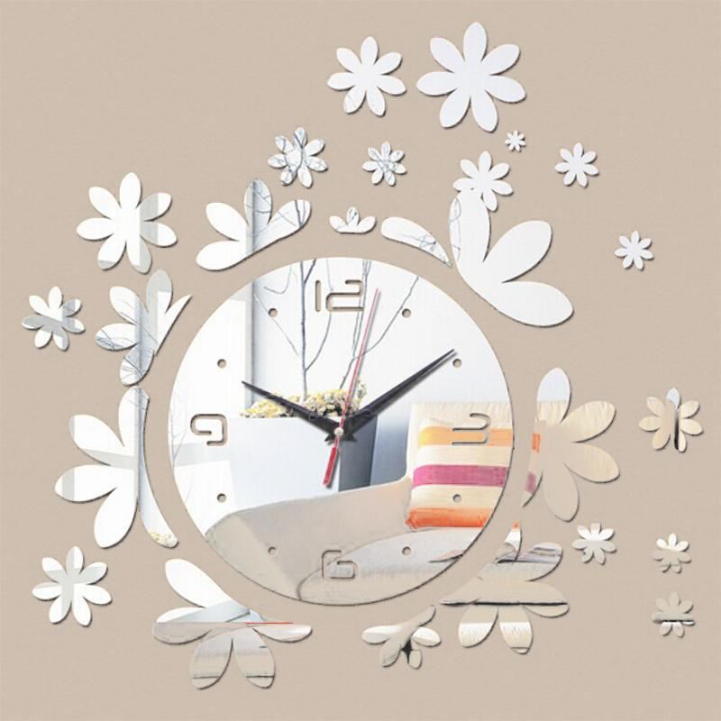 2018 New Hot Flowers 3d Wall Clocks Modern Reloj De Pared Large