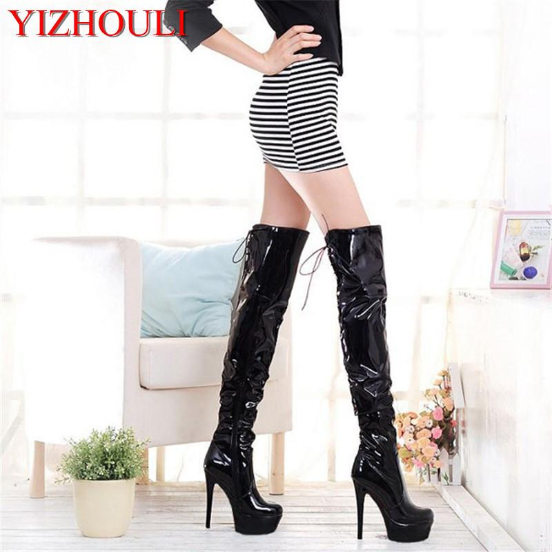 Hot Sale high quality women boots botas mujer Round Toe Ladies Party Wedding 15cm Thin Heels Dance Shoes