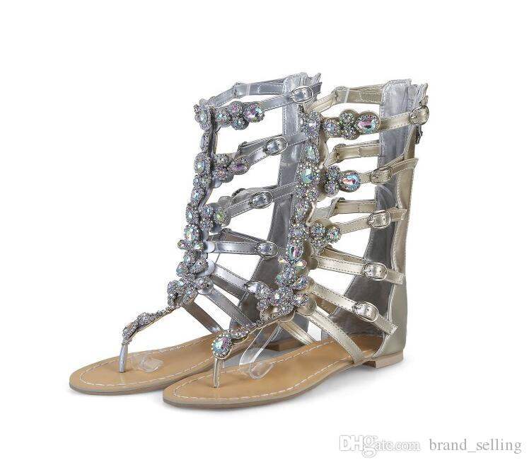 Flip-Flops Summer Women Sandals Roman Boots Narrow Band Genuine Leather Dress Shoes Rhinestone Buckle Zip T-Tied Flats Moccasin Plus Size44