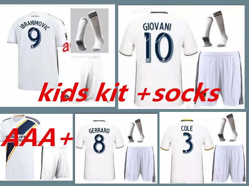 buy popular 010a2 4151c LA Galaxy Soccer Jersey KIDS kit home 18 -19 IBRAHIMOVIC GIOVANI ZARDES  GERRARD children Football new 2018/19 LA Galaxy kids kits + socks