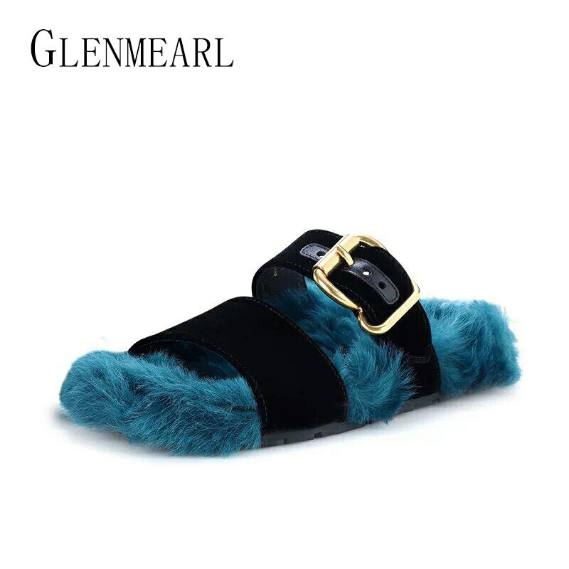 Brand Women Slippers Flats Fur Slippers Shoes Fashion Winter Autumn ... 38fc090bca16