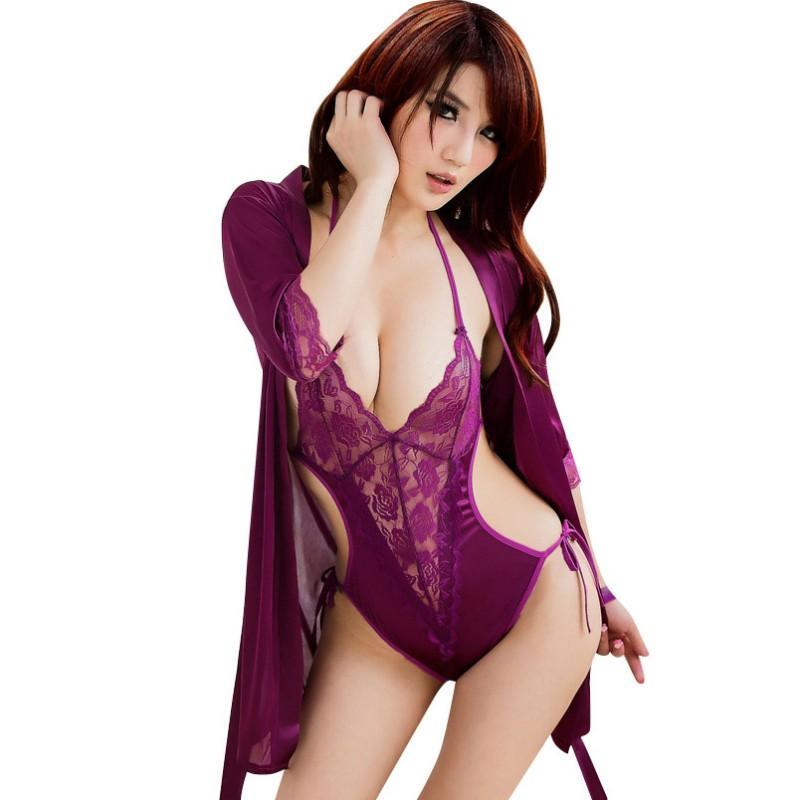 Sexy Frauen Dessous Babydoll Unterwäsche Nachtwäsche siamesische Nachtwäsche G-String Spitzenkleid y26