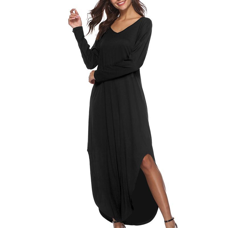 71abb600d7 Compre Vestido De Mujer Vestido De Playa De Verano Vestido Largo De Las  Mujeres Casual Bolsillo De Manga Larga Dividida Suelta Vestido Maxi Vestidos  A ...