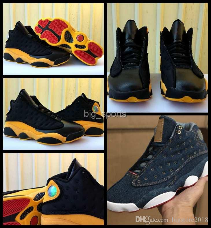 timeless design 1a705 1b607 2018 New 13 XIII Men Basketball Shoes Mens Black Yellow 13s Brand Sneakers  designer jumpman Trainers Sports Chaussures Zapatillas Zapatos