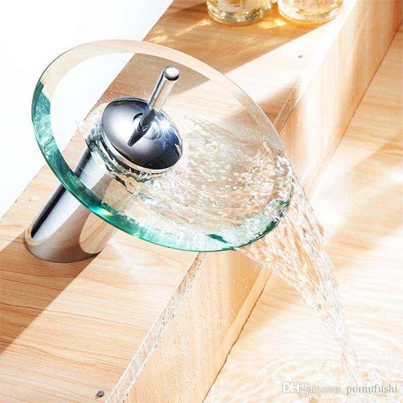 Contemporary Waterfall Glass Spout Basin Sink Faucet Mixer Taps Chrome Polished commercial Bathroom Vessel sink Faucet