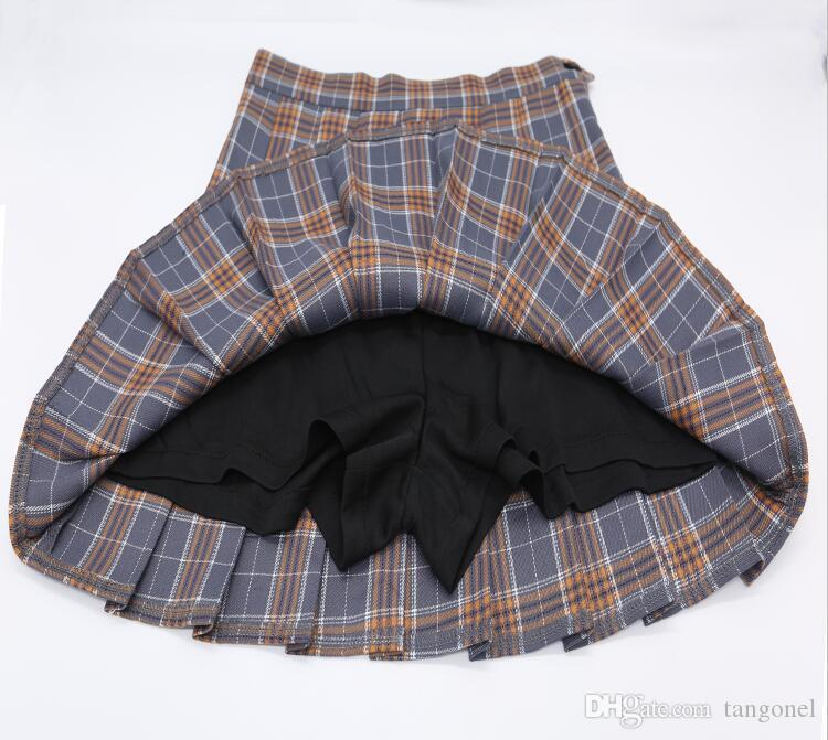 4f30ba7543 2019 Kawaii Korean School Uniform Skirt For Girls Plus Size Xs Xxl Plaid  Skirt For Women Students High Waist Rock Pleated Skirts From Tangonel, ...