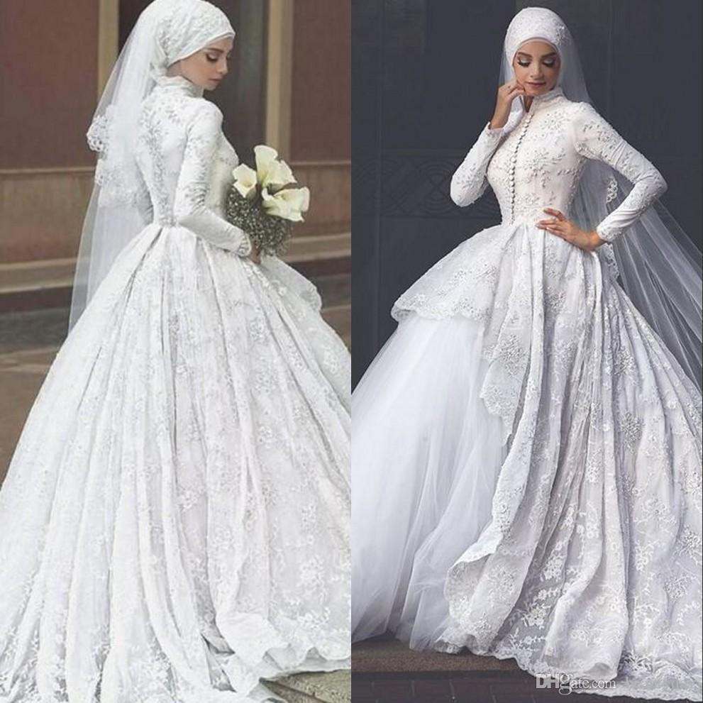 63811c2c316 Discount 2019 Modest Muslim Hijab Ball Gown Wedding Dresses Tiered Skirts High  Neck Lace Appliques Bridal Dresses Sexy Islamic Wedding Gowns A Line Wedding  ...