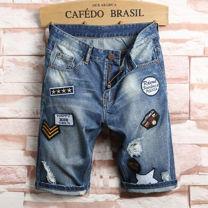 af75431afa 2017 New Men s Thin Denim Shorts Korean Style Broken Hole Teenagers Patch  Middle-waisted Cotton Shorts