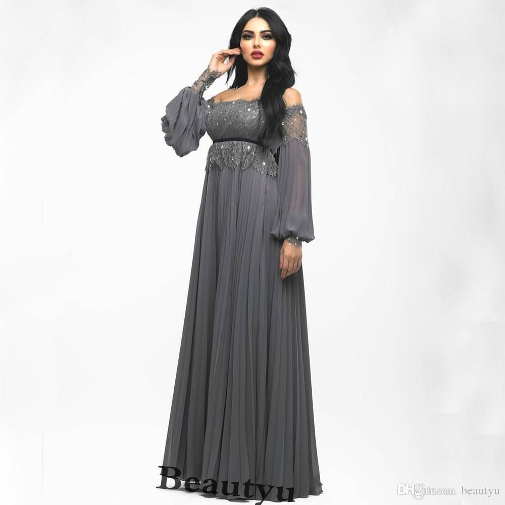 28938090c05 Saudi Arabia Dubai Prom Dresses 2018 Elegant Gray Chiffon Lace Arabic  Kaftan Cheap Plus Size A Line Long Sleeves Formal Party Evening Gowns Red Prom  Dresses ...