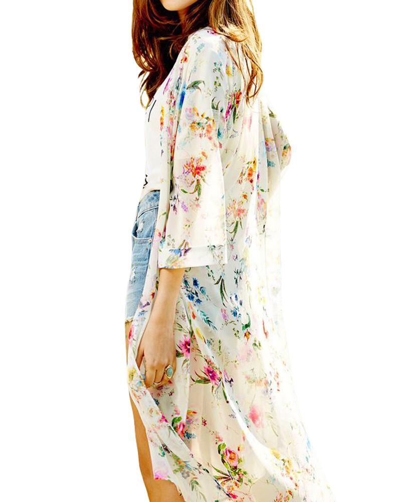 3c69bb8d55 Women Boho Chiffon Kimono Cardigan Cape Bikini Cover Up Floral Long Beach  Robe Plage 5XL Blouse Top Black/Beige Saida De Praia UK 2019 From  Vanilla01, ...