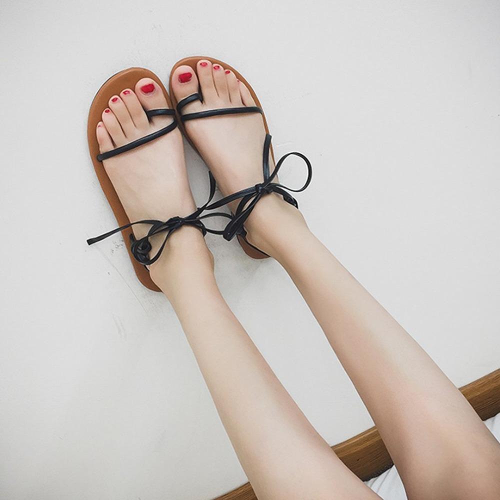 Frauen Allgleiches Atmungsaktiv Lace Up Mode Rutschfester Sohle Casual Stilvolle Mit Flach Sommer Schuhe Sandalen D2YWIHEbe9