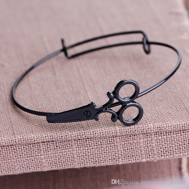 Charm Steampunk Scissors Bracelet Hairdresser Bangle Hair Stylist Charm Bracelet Personalized Initial Adjustable Jewelry drop ship 320066