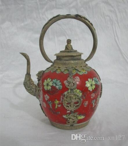 christmas decorations for home+ Collectibles Decorated tibet r red Porcelain Lion lid big Teapot free SHIPPING